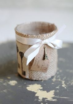 DIY idea - candle holder with canvas fabric, a ribbon and a cute charm (product from Ruche)