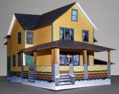 Papercraft imprimible y recortable de una Casa Navideña / Christmas House. Manualidades a Raudales.
