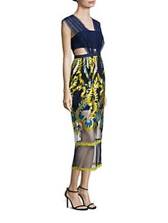 THREE FLOOR - Golden Globe Embroidered Midi Dress