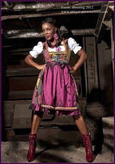 """Afro-Dirndl """"Togo"""" dark brown / occa/mustard/ d... von Return and get it ! auf DaWanda.com"""