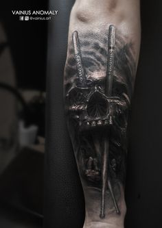 Tattoo by Vainius Anomaly  http://www.facebook.com/vainius.art/ http://www.instagram.com/vainius.art/  #tattoos #tattoo #Skull #drummer #creepy #horror #darkness #inked #armtattoo #vainiusanomaly
