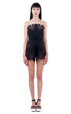 Rendered in black neoprene, this strapless Ioana Ciolacu Trophy romper features a fitted bodice and allover laser-cut halftone graphics. Spring Looks, Get The Look, Overalls, Suit Jacket, Jumpsuit, Rompers, Long Sleeve, Sleeves, Designers