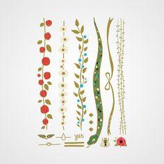 Planche de bijoux éphémères très nature et florale par Bernard Forever
