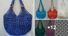Bolso Tejido al Crochet con Cuadrados muy fácil Crochet Collar, Crochet Top, Chrochet, Cloth Bags, Hobbies And Crafts, Crochet Patterns, Knitting, Diy, Women