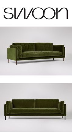 The Munich three-seater sofa in fern velvet. Sink into the Munich – a sleek contemporary sofa that effortlessly fuses style and comfort, perfect for modern design magpies that like to lounge. Available in 35 fabrics.