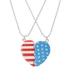 Glitter American Flag Heart Best Friend Necklaces