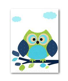 Navy Green Owl Decor Digital Download Print Printable Art Instant Download…