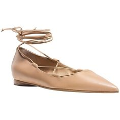 Michael Kors Kallie Leather Point Toe Flats ($495) ❤ liked on Polyvore featuring shoes, flats, tan, pointed-toe flats, ballet shoes, michael kors flats, leather pointed toe flats and lace up pointed toe flats