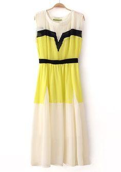 Yellow Patchwork Pleated Round Neck Sleeveless Chiffon Dress