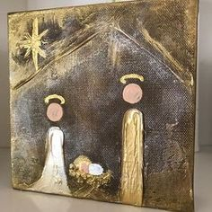 Artist: Lori Mitchell Dimensions: Original Custom Figure, Joseph, Mary, and Baby Jesus Medium: Acrylic Surface: Canvas For more information email us at ch Christmas Paintings On Canvas, Christmas Canvas, Christmas Nativity, Christmas Signs, Christmas Art, Christmas Projects, Holiday Crafts, Christmas Decorations, Jesus Painting