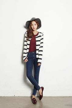Round Stripe Open Cardigan