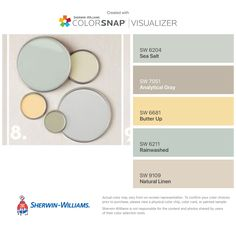 Paint Color Matching App: ColorSnap® Paint Color App - Sherwin-Williams #sherwin #williams #natural #linen #and #sea #salt I found these colors with ColorSnap® Visualizer for iPhone by Sherwin-Williams: Sea Salt (SW 6204), Analytical Gray (SW 7051), Butter Up (SW 6681), Rainwashed (SW 6211), Natural Linen (SW 9109). Yellow Paint Colors, Paint Color Schemes, Bedroom Paint Colors, Paint Colors For Living Room, Paint Colors For Home, Yellow Painting, Natural Paint Colors, Matching Paint Colors, Neutral Paint