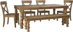 Trishley Light Brown 6 PCS Extendable Dining Table Set