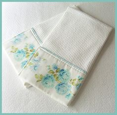 Cottage Shabby Chic waffle weave towels. Made from the trim of a vintage pillowcase.