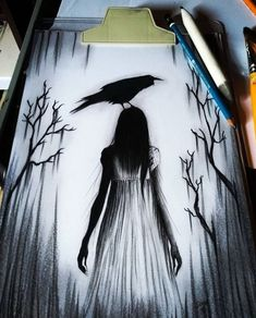 Art Sketches Aesthetic - Kunst Zeichnungen - Djone Til - Scary Drawings, Dark Art Drawings, Art Drawings Beautiful, Pencil Art Drawings, Art Drawings Sketches, Cute Drawings, Tattoo Drawings, Creepy Sketches, Dark Art Paintings