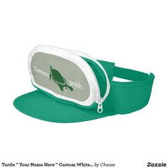"Turtle "" Your Name Here "" Custom White And Green Visor"