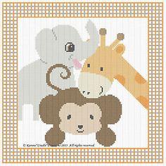 "Safari Animals Baby Cross Stitch Pattern Chart 10"" x 10"" Easy | eBay"