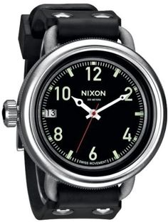 Men's Nixon The October Watch in Black Swiss Quartz Movement Stainless Steel Rubber Strap A488000 * See this great product.