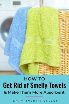Do you have smelly towels? Are they not quite as absorbent as they use to be? There is a simple trick I use to remove the smell from towels. And it just takes TWO simple products.