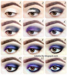 natalia-lily: Beauty Blog: Makijaż oka: Chłodne fioletowo-srebrno-czarne smoky eye z użyciem Indian Kajal (Kohl) (krok po kroku)