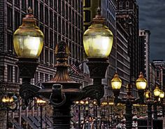 Chicago street lights - look closely for Marshall Fields' clocks...