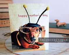 Mothers Day Busy Bee Dachshund Card by kalyxcraftopia on Etsy