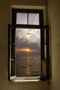 Sunset  through th window ~     Greece