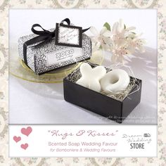 """Dream Wedding Store: """"Hugs & Kisses from Mr & Mrs"""" - Scented Soap Gift Box - Wedding Favours"""