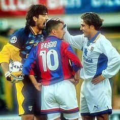 Gianluigi 'Gigi' Buffon (Parma FC), Roberto Baggio (Bologna FC 1909) and Fabio Cannavaro (Parma FC)