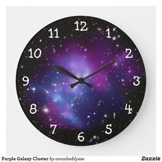 Purple orchid numbers on a clock face against a space image featuring: Galaxy Cluster MACS thanks to NASA and Hubble program. Galaxy Decor, Galaxy Theme, Galaxy Art, Galaxy Bedding, Neon Bedding, Red Bedding Sets, Romantic Bedroom Decor, Purple Orchids, Space Images