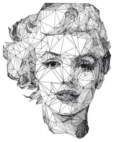 """""""Triangulations"""", une série de quatre portraits géométriques et épurés réalisés au stylo par l'artiste américain Josh Bryan : Marilyn Monroe, Albert Ein"""