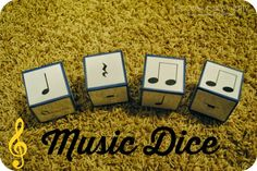 Dice Occasionally Crafty: Music Dice for rhythm learning.paint wooden alphabet blocks a sold colour then add the rhythm notes.Occasionally Crafty: Music Dice for rhythm learning.paint wooden alphabet blocks a sold colour then add the rhythm notes. Preschool Music, Music Activities, Physical Activities, Music Lesson Plans, Music Lessons, Piano Lessons, Mundo Musical, Music And Movement, Elementary Music