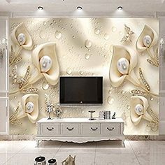 Ohcde Dheark Custom 3D Mural Wallpaper European Style Calla Lily Butterfly Water Drop Silk Wallpaper Hotel Living Room Tv Backdrop Home Decor350cmX245cm