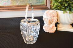 Vintage Italian 800 Silver Rim Crystal Ice Bucket - Crystal Bucket Decorative Silver Rim and Swing Handle - Clear Crystal Ice Bucket