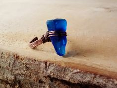 Deep Cobalt Blue Seaglass Ring Adjustable by JennieVargasJewelry,
