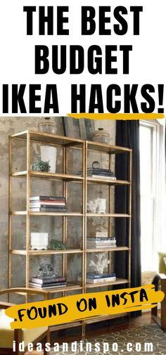 DIY Easy IKEA Hacks On A Budget Ideas | IKEA shelf hack DIY | Decor | Lack | Unit | Gold Shelves Living Room | Office | Ikea Shelf Hack, Ikea Shelves, Office Furniture Design, Deck Furniture, Pipe Furniture, Ikea Laundry Basket, Hacks Diy, Ikea Hacks, Vintage Industrial Furniture