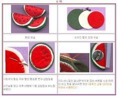 !!!!♥ Feltro-Aholic ♥ Moldes e pap em feltro e feltro estampado!: pap broche de melancia feita de feltro fácil com f...