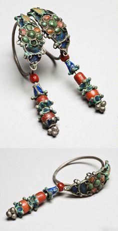 Alashan, Inner Mongolia   Pair of earrings; enamel, coral and turquoise   ca. 1902 or earlier