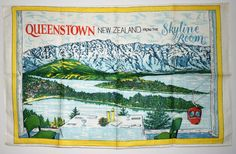 Beautiful Queenstown New Zealand Tea Towel - Mid Century View from the Skyline Room - New! Queenstown New Zealand, Moving Boxes, Australia Photos, Floral Pillows, Vintage Cameras, Rock Art, Tea Towels, Blue Flowers, Vintage World Maps