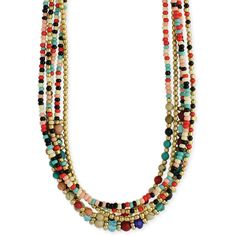 Bohemian multi beaded necklace ($41) ❤ liked on Polyvore featuring jewelry, necklaces, multi colored bead necklace, colorful necklaces, multicolor necklace, beaded necklaces and bead strand necklace
