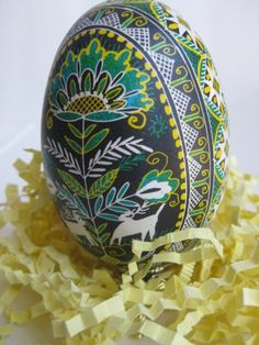 chicken  egg Pysanka with Turquoise,  hand painted one of a kind, Ukrainian Easter egg