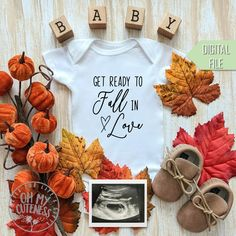 Get Ready to Fall in Love Digital Pregnancy Announcement Thanksgiving Baby Announcement, Fall Pregnancy Announcement, Cute Baby Announcements, Halloween Pregnancy Announcement, Pregnancy Announcement Photos, Pumpkin Pregnancy Announcement, Pregnancy Photos, Baby Boy Announcement, Baby Pregnancy