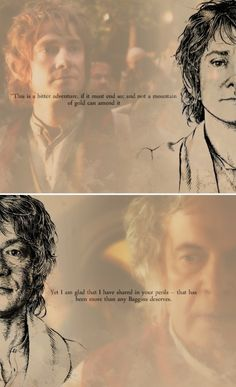 Bilbo -- wow! crazy how one half of the drawing looks like his younger self, the other his old self...mind blown.