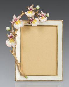 "Orchid 3"" x 4"" Frame by Jay Strongwater at Neiman Marcus."