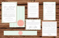 Custom Seafoam and Coral Wedding Invitation Package/Suite. $75.00, via Etsy.