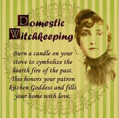 Domestic Witchkeeping: Burn a candle on your stove to symbolize the hearth fire of the past. This honors your patron kitchen goddess and fills your home with love. #wicca #witchcraft