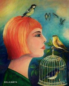 Blue bird - Kék madár Acrylic on canvas - 50 x 40 cm - by Márta Bolla - Hungary Blue Bird, Hungary, Portraits, Paintings, Canvas, Women, Paint, Head Shots, Painting Art