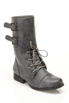 diva lounge Jetta-07 Combat Boots In Gray - Beyond the Rack