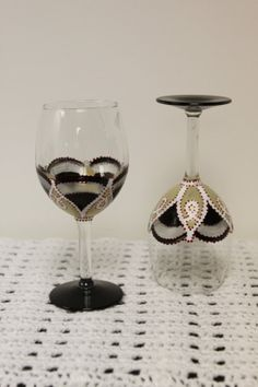 Black Lasso Hand Painted Wine GlassesSet of by LuckyElephantGlass, $20.00