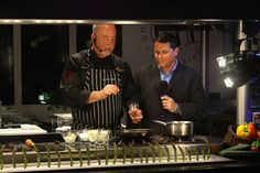 Chef Mark Stark and wine expert Mark Kilbride perform a live cooking demonstration at Fuentes Culinary Theater.